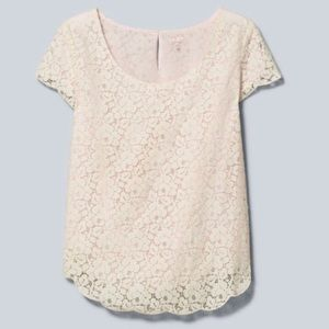Aritzia Talula white lace blouse with pink lining